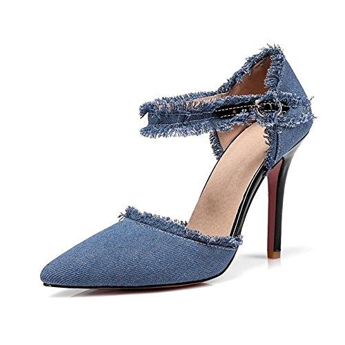 Dimaol Zapatos De Mujer Tela De Mezclilla Primavera Verano Bomba Base Novedad Tacones Punta De Tacón De Aguja Para El Banquete De Boda Y La Luz De Noche Azul Oscuro Azul Claro