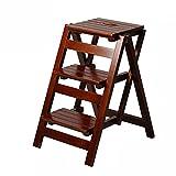 CAIJUN Hocker Leiter Alles Feste Holz Multifunktion Faltbar Rutschfest Dicke Platte Mode Einfach, 2, 3 Stufenleiter Dual-Use (Farbe : G)