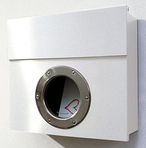 Radius - Letterman I - Briefkasten mit Bullauge - Postkasten - Edelstahl gepulvert - weiß - 40 x 34 x 11,5 cm