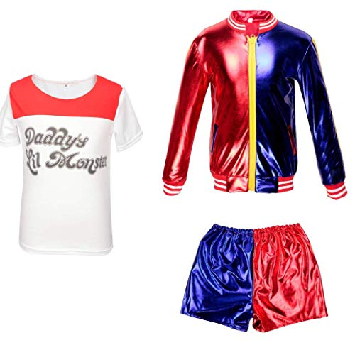 Harley Quinn Enfants vêtements Suicide Squad Manteau + Short + T-Shirt Set Suit Red 6-8 Years(120cm-130cm Child)