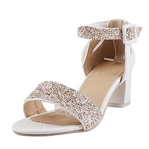 Mee Shoes Damen Chunky Heels Plateau Pailletten Sandalen