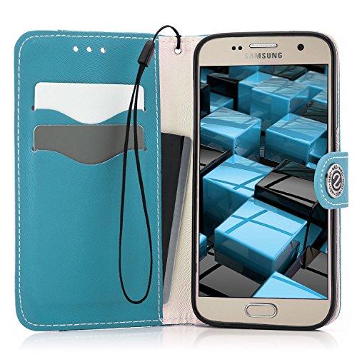 Saxonia Custodia Apple iPhone 6 Plus / 6S Plus Flip Case Cover Copertura con Portafoglio Wallet Alta Qualità Marrone-Bianco Blu-Bianco