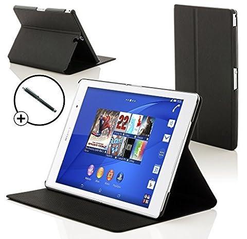 Forefront Cases® - Nouveaux pliables étui case en cuir pour les Sony Xperia Z3 SGP611 Tablette 8'' - Protection complète de l'appareil et fonction intelligente de réveil automatique avec LA GARANTIE DE 3 ANS DE FOREFRONT CASES + Stylet