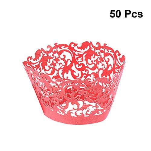 Bestonzon 50pcs creux Motif floral de cupcakes Décor Mariage Fête d'anniversaire Baby Shower...