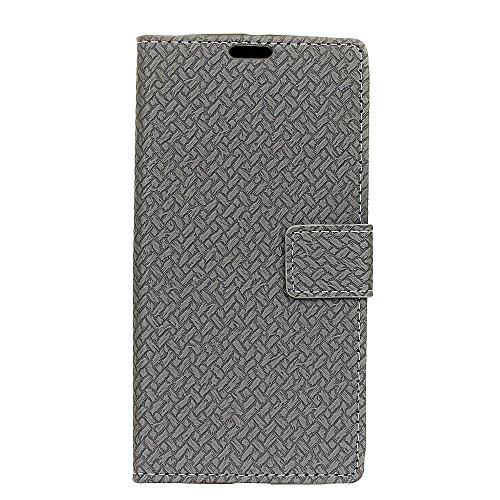 YHUISEN ZTE A310 Case, Weave Pattern Magnetische Verschluss PU Leder Geldbörse Flip Folio Schutzhülle für ZTE Blade A310 ( Color : Blue ) Gray