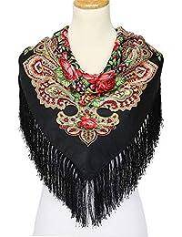 RFVBNM Foulard élégant de style russe gland grande serviette carrée hiver  écharpe en coton chaud écharpe f1c5b00cd1a
