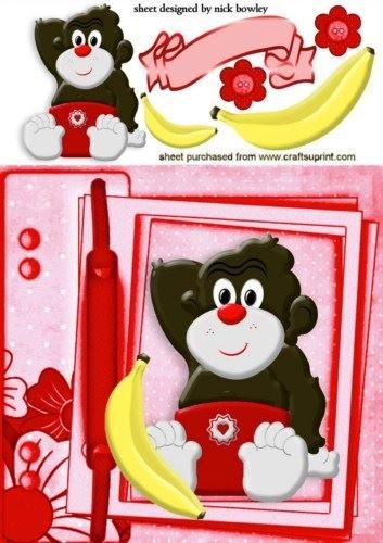 Cute Baby Monkey in rosso per pannolini in una pagina scrapbook by Nick Bowley