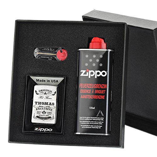 3 piezas Original líquido de ZIPPO Mechero con Set de regalo con grabado libre Original Exclusivo