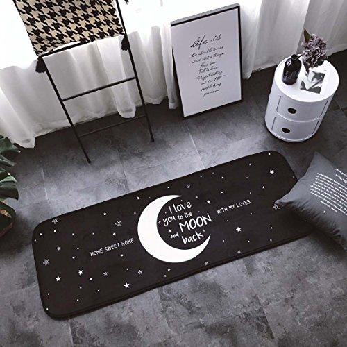 Z&L Home und Küche Teppiche Fußmatte Cool Cat vertikalen Streifen Braun Rutschfeste/Skip Runner Dekorative Eingang Boden Teppich für Bad Schlafzimmer 19''x27'' Moon Sweet Home - Non Skid Küche Teppich