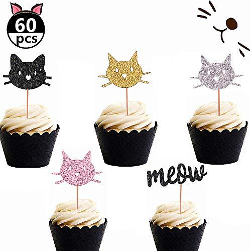 JeVenis Set von 60 Glitzernden Kätzchen Katze MIAU Cupcake Toppers Katze Cupcake Topper MIAU Cupcake Toppers Mädchen Geburtstag Kätzchen Thema Partydekorationen Kindergeburtstag Party Dekore