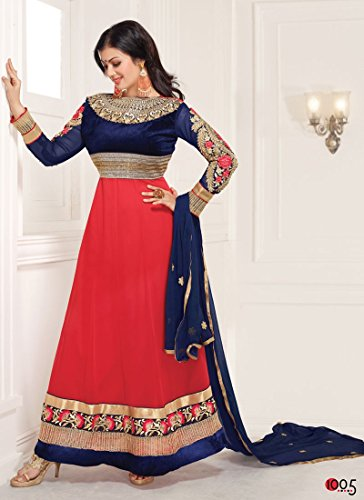 Surat Tex Blue & Red Color Party Wear Embroidered Georgette Semi-Stitched Anarkali