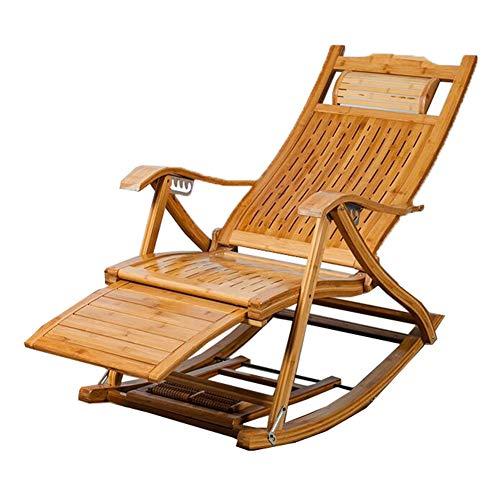 QIDI Chaise Pliante, Chaise Longue, Chaise berçante en Bambou, Chaise pour déjeuner, Chaise berçante, Bambou, Renfort Facile à Plier, épaississement Adulte vieillard (Couleur : ANB-8)