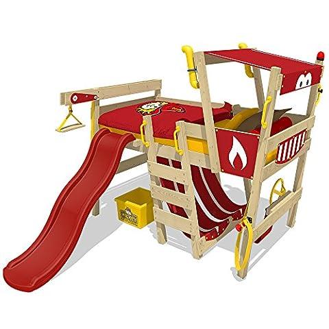 WICKEY Spielbett mit Rutsche CrAzY Smoky Kinderbett 90x200 Hochbett Kinder mit Lattenboden und viel Zubehör, Feuerwehrbett, rote Plane + rote