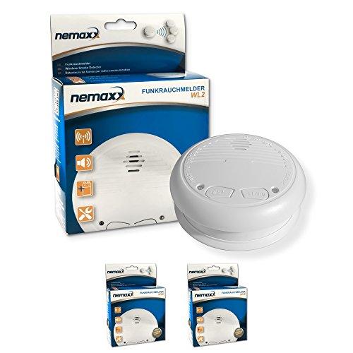 2x Nemaxx WL2 Funkrauchmelder ? hochwertiger Rauchmelder Brandmelder Set Funk koppelbar vernetzt ? nach DIN EN 14604