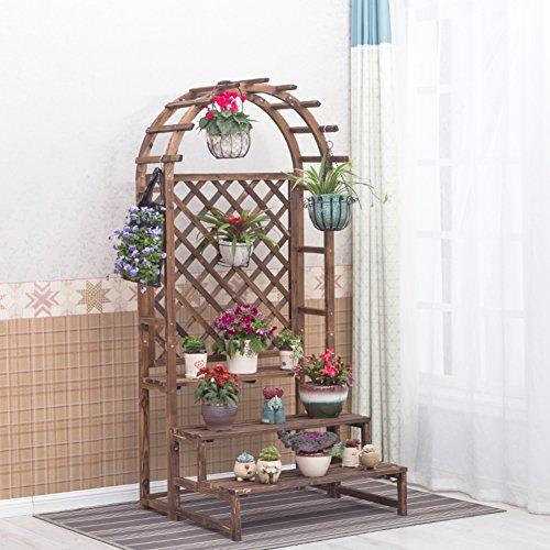 Multi-tier-flower pot rack Massivholz Balkon treppe anlage ständer Konservierungsmittel für den modernen einfachen stock ständer rack-A (Klar, Holz-konservierungsmittel)