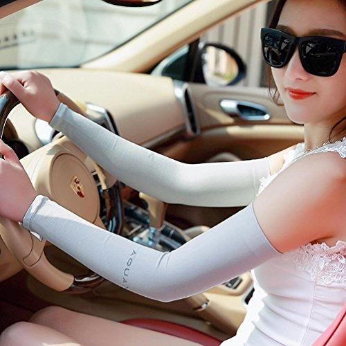 TXIU Paar Atmungsaktiver UV-Schutz Sweat Absorbent Cooling Arm Kompressionshülsen Armwärmer Zum Laufen Golf Basketball Wandern Radfahren usw, Gray