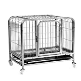 Pet Playpens Animal Fence Cage, Portable Metal Pet Exercise And Playpen with Door, Gray