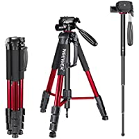 Neewer Portable 70 inches/177 centimeters Aluminium Alloy Camera Tripod Monopod with 3-Way Swivel Pan Head,Bag for DSLR Camera,DV Video Camcorder,Load up to 8.8 pounds/4 kilograms Red(SAB264)