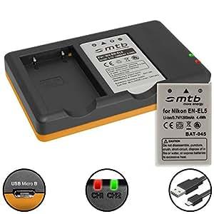 2 Batterie + Caricabatteria doppio (USB) per Nikon EN-EL5 / Coolpix P500, P510, P520, P530, P5000, P5100, P6000... v. lista ( Cavo USB micro incluso)