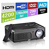 Indoor Outdoor Video Projector Support 1080P, Multimedia LED LCD Home Movie Gaming Projector