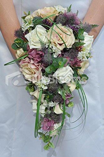 Rustico e avorio, colore: rosa con fiori e ortensia a cascata, per matrimonio, motivo: bouquet della sposa