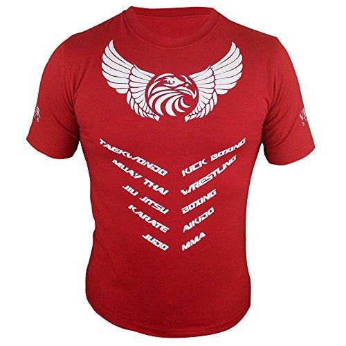 MMA Herren T-Shirt, Fitness Workout-Muskel-T-Shirts, Muay Thai Kampf Bodybuilding Taekwondo Ringen Karate Judo Jiu Jitsu Training Top, Boxen Kampfsport UFC - Valor Strike®, rot -