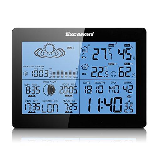 Excelvan   Estación Meteorológica Inalámbrica (Digital RCC Radio Control Reloj  Medir Temperatura °C /°F  Humedad  con Sensor  Alarma Dual)
