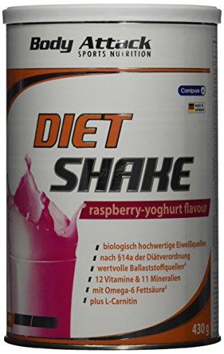 Body Attack Diet Shake, Raspberry-Yoghurt, 1er Pack (1x 430g)