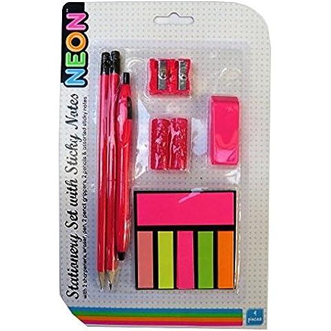 Paquete de Papelería con las Notas Adhesivas - Diseño de Neón - Rosa - 9 Pieza