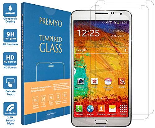 PREMYO 2 Pezzi Pellicola Vetro Temperato Compatibile con Samsung Galaxy Note 3 Protezione Schermo Durezza 9H Bordi 2,5D Anti-Graffi Bolle Impronte