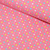 MAGAM-Stoffe ''Tamara - Sterne & Punkte'' in 4 Farben | Jersey-Stoff | Kinderstoff Öko-TEX Qualität | Meterware ab 50cm | OX-3-10 (4. Rosa)