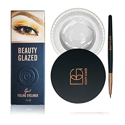 ROMANTIC BEAR Wasserdicht und Wischfest Gel Eyeliner mit Pinsel Makeup Sets,2 in 1 Paket (Weiß)