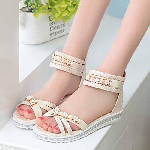 Transer ® Mode femmes fleur en cuir Peep-toe faible sandales d'été Beige