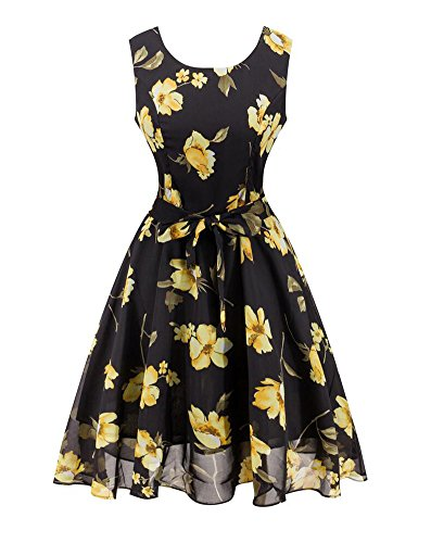 Minetom donna estate vintage 1950s rockabilly cocktail vestito chiffon senza maniche classico stampa retro abito con cintura nero giallo it 48