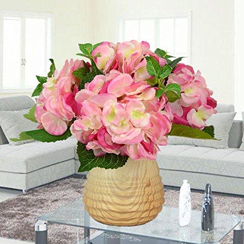 Usdfjn Artificial Hydrangeas Silk Flower Fake Decoration Vase Pink