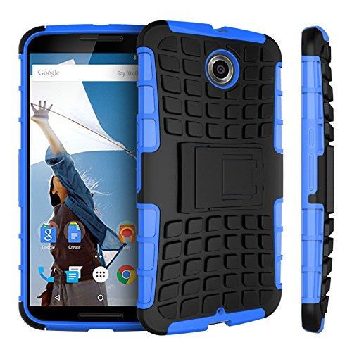 Motorola Nexus 6 Kasten, CaseFirst Reifenstreifen Hybrid Combo Shockproof Rüstung Robuste Dual Layer Case Cover mit Kickstand für Motorola Nexus 6 (Blau)