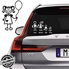 Idea Regalo - Bimba Con Palloncino Vetro Auto Famiglia StickersFamily Stickers Family Decal - Bianco Lucido