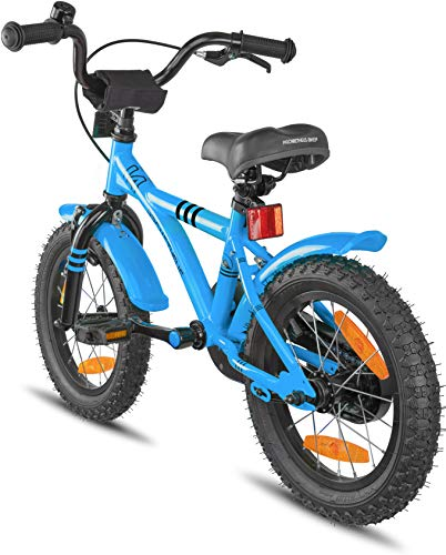Prometheus Bicicletta per Bambini e Bambine da 4 Anni nei Colori Blu e Nero da 14 Pollici con rotelle e contropedale – BMX da 14″ Modello 2019 - 8