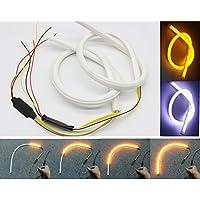 Tira de luz LED secuencial y decorativa para DRL, de Usun. Luces d ecirculación diurna e intermitentes. Luces decorativas color ámbar y blanco. 2 unidades de 60 cm