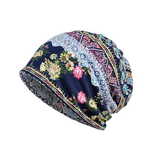 Baumwolle gedruckt Pullover Hut Schal Lätzchen Zwei Zweck - Oyedens Unisex Print Hut Rüschen Krebs Hut Beanie Schal Kragen Turban Head Wrap Cap -