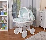 WALDIN Baby Stubenwagen-Set mit Ausstattung,XXL,Bollerwagen,komplett,26 Modelle wählbar,Gestell/Räder weiß lackiert,Stoffe mint/Sterne-mint