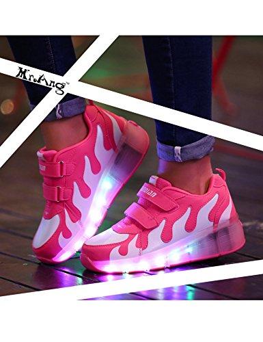 Mr.Ang Skateboard Schuhe Flügel-Art Rollen Verstellbare Schlittschuhe neutral Rollschuh Schuhe mit LED 7 Farbe Farbwechsel Lichter blinken Skateboard Lnline Sneaker Einzelnes Rad Schuljunge Mädchen Pink-Weiß