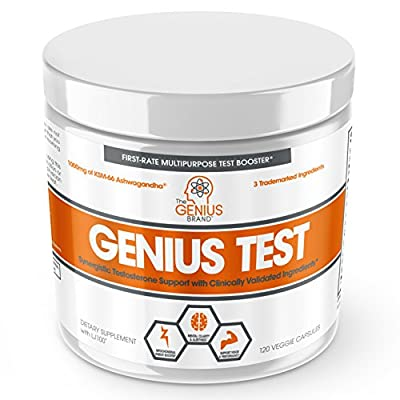 Genius Test - The Smart Testosterone Booster for Men | Natural Energy Supplement, Brain & Libido Support, Fat Loss | Muscle Builder with KSM-66. from The Genius Brand