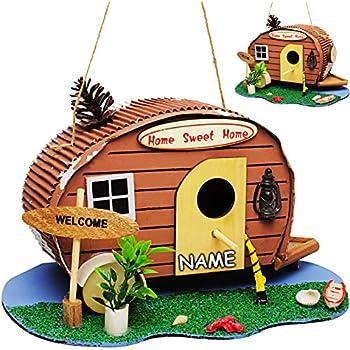 Name Wohnwagen /& Camper // Caravan inkl Beach f/ür Garten /& Balkon Nistkasten Vogelh/äuschen Vogelnistkasten Bunte Farb.. alles-meine.de GmbH Vogelhaus aus Holz 28 cm