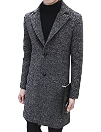 Uomo Slim Fit Trench Coat Manica Lunga Cappotto Classico Giacca c62b8984236