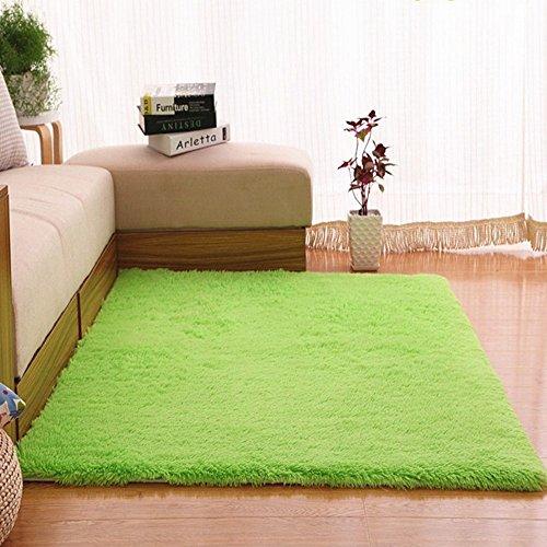 Super weiche Seide Wolle Teppich Indoor moderne Shag Bereich Teppich seidige Teppiche Schlafzimmer Bodenmatte Baby Kinderzimmer Teppich Kinder Teppich 63,0 * 90,6 Zoll ( Farbe : Fruit green , größe : 63.0*90.6inch ) (Wolle Shag Teppich)