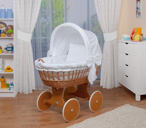 Preisvergleich Produktbild WALDIN Baby Stubenwagen-Set mit Ausstattung,XXL,Bollerwagen,komplett,26 Modelle wählbar,Gestell/Räder lackiert,Stoffe weiß