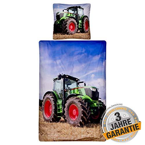 Aminata kids Coole Bettwäsche-Set Traktor-Motiv 135 x 200 cm + 80 x 80 cm aus Baumwolle mit Reißverschluss, unsere Kinder-Bettwäsche mit Traktoren-Motiv ist weich, Trecker, bunt, blau, grün