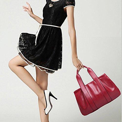 YYW Leather Handbags, Borsa a zainetto donna Burgundy