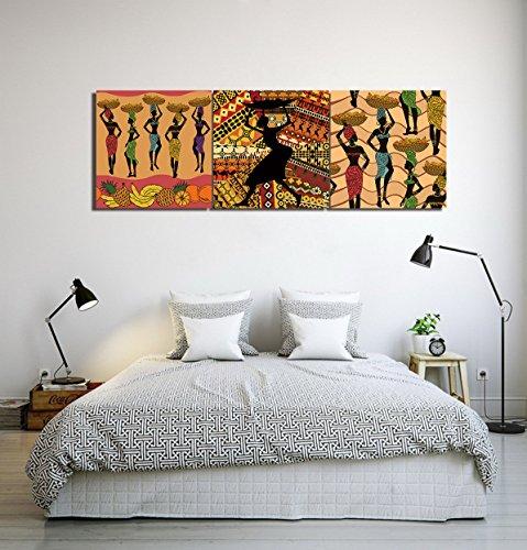 LB Temporada de Cosecha Mujeres africanas piña plátano_Arte de la Pared Pintura al óleo Imagen en Lienzo Decoración del hogar,3 Paneles,40x 40 CM,Sin Marco